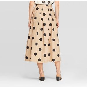Who What Wear Polka Dot Button Front A-Line Skirt